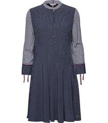 fleur dress 3/4 slv jurk knielengte blauw tommy hilfiger