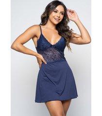 camisola renda rb moda alã§a fina decotada - azul marinho - feminino - poliã©ster - dafiti