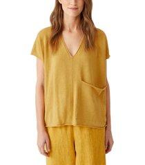eileen fisher organic linen & organic cotton v-neck sweater