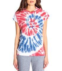 women's pj salvage american tie dye short sleeve hoodie