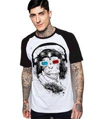 camiseta king33 raglan branco - kanui