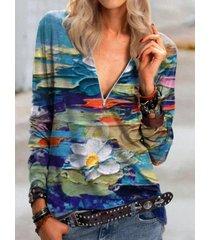 camicetta manica lunga con cerniera scollo a v stampata floreale casual