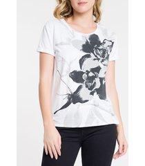 blusa feminina flores branca calvin klein jeans - p