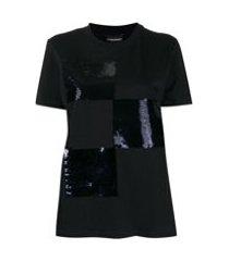 emporio armani camiseta com logo de paetês - azul