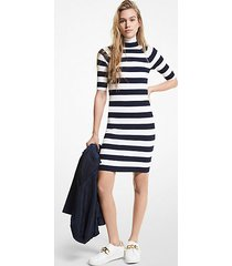 mk abito dolcevita in viscosa stretch a righe - mdntbl/wht - michael kors