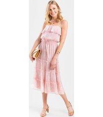 candice floral flounce maxi dress - blush