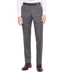 hugo by hugo boss men's slim-fit dark gray plaid wool suit separate pants