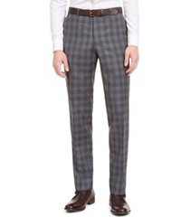 hugo men's modern-fit dark gray plaid wool suit pants