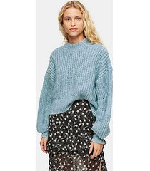 pale blue exaggerated sleeve cropped sweater - pale blue