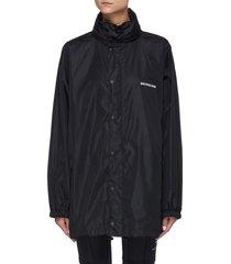 logo print nylon rain jacket