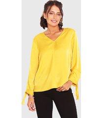 blusa wados m/l solid amarillo - calce holgado