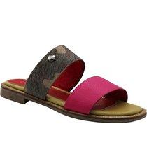 sandalia de cuero fucsia leblu
