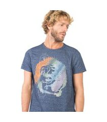 t-shirt estampada moline azul marinho az mar/gg