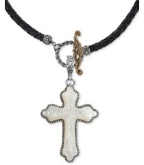 """american west mother-of-pearl cross black leather 20"""" pendant necklace in sterling silver"""
