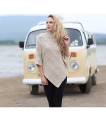 ladies aran cable knit poncho beige medium/large