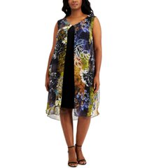 connected plus size printed chiffon overlay dress