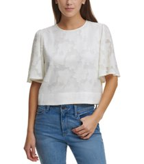dkny cropped flutter-sleeve jacquard top
