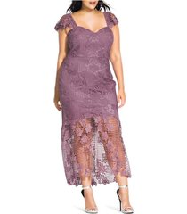 plus size women's city chic leonie lace mermaid dress, size small - pink
