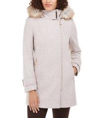 calvin klein faux-fur-trim hooded asymmetrical coat
