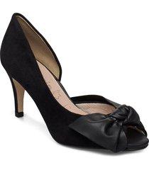woms open toe shoes heels pumps classic svart tamaris