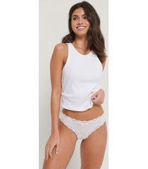 na-kd lingerie micro lace edge stringtrosor 3-pack - white