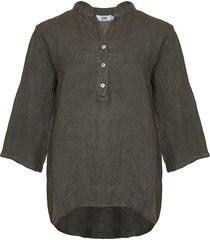 tiffany shirt linen, dark army, 17661