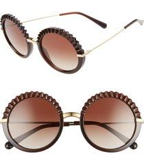women's dolce & gabbana plisse 52mm round sunglasses - transparent brown/ gradient