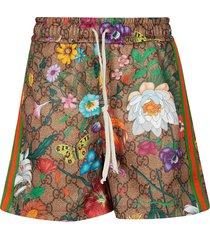 gucci floral printed shorts