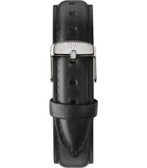 daniel wellington 'classic sheffield' 18mm leather watch strap in black/silver at nordstrom