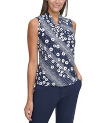 tommy hilfiger printed knot-neck top