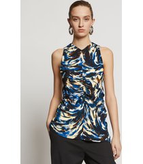 proenza schouler feather print cinched waist top blue/black/butter feather/white 8