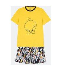 pijama manga curta em poliviscose estampa piu-piu | looney tunes | primarycolor12 | p