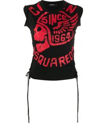 dsquared2 motorcycle skull print tank top - black