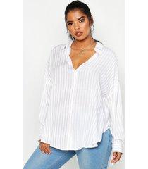 plus oversized blouse met split, beige