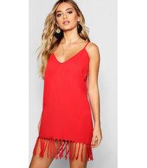 boheemse jurk met bandjes en kwastjes, rood