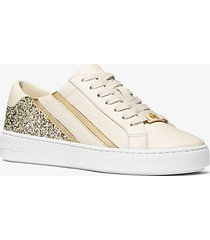 mk sneaker slade a righe con glitter - panna (naturale) - michael kors