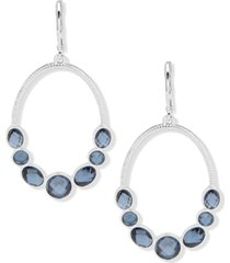 anne klein silver-tone blue stone open drop earrings