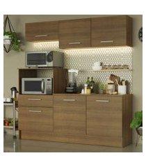 cozinha compacta madesa onix 180001 com armário e balcão rustic cor:rustic