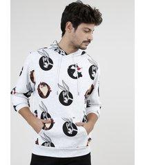 blusão masculino looney tunes estampado em moletom felpado com capuz e bolso cinza mescla claro
