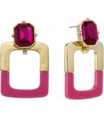 christian siriano new york gold tone and pink resin doorknocker earrings