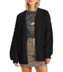 women's billabong blissed out pointelle cardigan, size medium - black