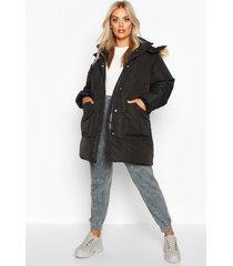 plus faux fur longline puffer coat, black