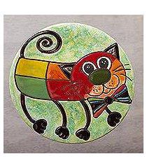 ceramic wall art, 'bow tie cat' (mexico)