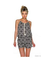 hotpants-jumpsuit zwart / wit