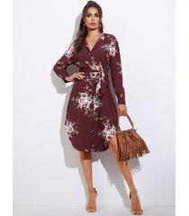 yoins estampado floral burdeos cinturón con botones en la parte delantera cuello alto mangas largas vestido