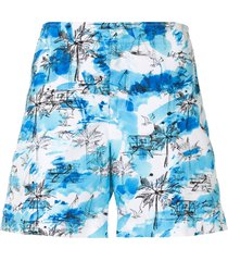 orlebar brown beach print tie-dye shorts - blue