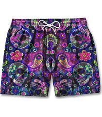 bermuda moda masculina short praia caveira floral tactel