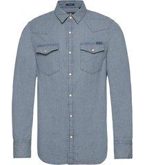 resurrection l/s shirt overhemd casual blauw superdry