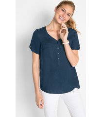 viscose blouse met korte mouwen