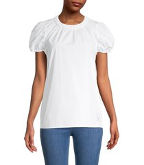 kenzo women's puff-sleeve cotton-poplin top - white - size 42 (10)